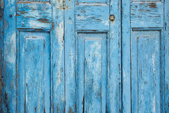 Blue Paint Peeling off Door (Texture) Stock Images