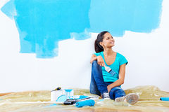 Blue paint portrait Royalty Free Stock Images