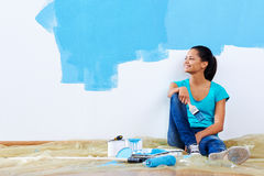 Blue paint portrait Royalty Free Stock Photography