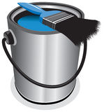 Blue paint pot Royalty Free Stock Image