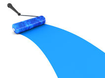Blue paint roller brush Royalty Free Stock Images
