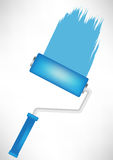 Blue paint roller tool with trace Royalty Free Stock Photo