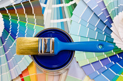 Blue paint sample. Stock Photo