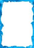 Blue paint splash frame on white Royalty Free Stock Image