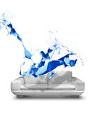 Blue paint splash white leather sofa Stock Photography
