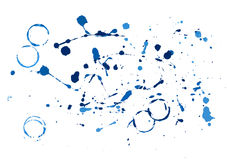 Blue paint splatters. On white background Royalty Free Stock Photography