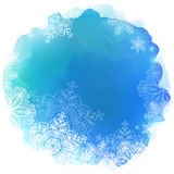 Blue paint stain with snowflakes, vector Royalty Free Stock Images