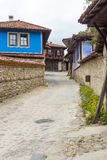 Blue paint in stone architecture Koprivshtitsa in Bulgaria royalty free stock image
