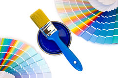 Blue paint and swatches. Stock Photography