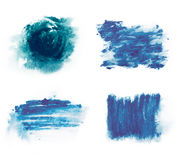 Blue paint watercolor aquarelle stains splatter splashes with rough strokes and edges in grunge style. vector illustration