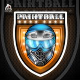 Blue paintball mask in the center of shield. Sport logo for any team or tournament.  vector illustration