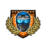 Blue paintball mask in the center of wreath on shield. Sport logo for any team or tournament on white.  royalty free illustration