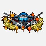 Blue paintball mask with crossed guns in the center of wreath with blots. Sport logo for any team or tournament isolated on white.  stock illustration