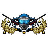 Blue paintball mask with crossed guns in the center of wreath. Sport logo for any team or tournament isolated on white.  vector illustration