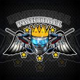 Blue paintball mask with crown and crossed guns between wings on white background. Sport logo for any team or tournament isolated. On dark vector illustration