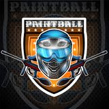 Blue paintball mask with guns in the center of shield. Sport logo for any team or tournament on black.  royalty free illustration