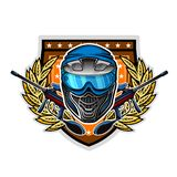 Blue paintball mask with guns in the center of wreath on shield. Sport logo for any team or tournament on white.  stock illustration