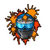 Blue paintball mask with paint blots. Sport logo for any team or tournament on white.  royalty free illustration