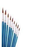 Blue paintbrushes Stock Photo