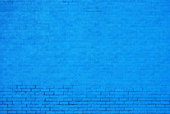 Blue Painted Brick Wall Royalty Free Stock Image