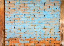Blue painted brick wall Royalty Free Stock Photo