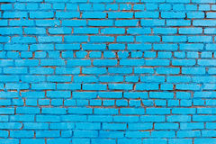 Blue painted brick wall texture background stock photos
