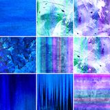 Blue painted canvas collection Stock Images