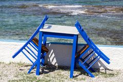 Blue painted chairs and table Royalty Free Stock Photo