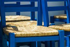 Blue painted chairs Royalty Free Stock Photo