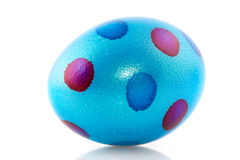 Blue painted easter egg Stock Photos