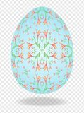 3d blue painted Easter egg with a pattern of lilies and a place for text royalty free illustration