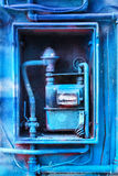 Blue painted Gas Meter. A gas meter painted with blue paint Stock Photos