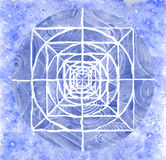 Blue painted mandala artwork Royalty Free Stock Photo