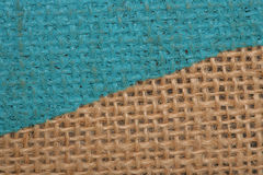 Blue painted and normal hessian canvas abstract Stock Images