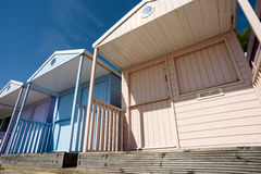 Blue Painted Summer Beach Huts Royalty Free Stock Photography