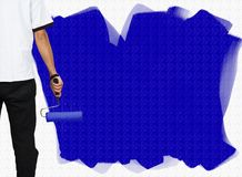 Blue painted wall Stock Photo