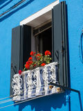 Blue Painted Window Royalty Free Stock Photos