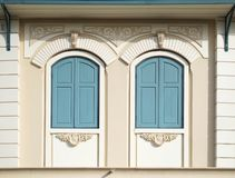 Blue painted wood arched windows Royalty Free Stock Photos