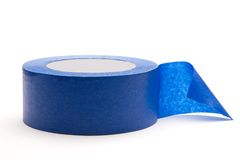 Blue Painters Tape. Singe rol of blue painters tape on white background Royalty Free Stock Photos