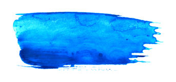 Blue painting brush stroke on white Royalty Free Stock Images