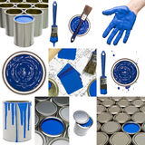 Blue Painting objects. Collage of Blue painting objects Stock Photos