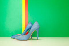Blue pair of high heels Royalty Free Stock Photo