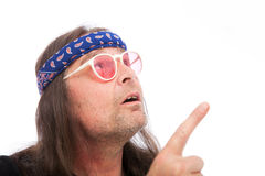 Blue Paisley Bandana on a Hippie Royalty Free Stock Photo