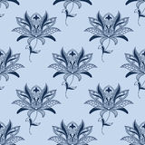 Blue paisley floral pattern Stock Photos