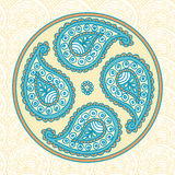 Blue Paisley Flover Doodle. On a Beige Background Royalty Free Stock Image