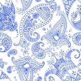 Blue paisley seamless pattern stock image