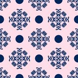 Blue and Pale Pink Damask Seamless Pattern. Damask seamless pattern with blue design over pale pink background royalty free illustration