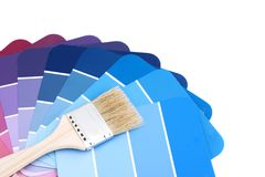 Blue palette with brush Royalty Free Stock Photography