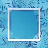 Blue Palm Leaf Background Illustration in paper cut style. Exotic tropical jungle rainforest bright cyan palm tree and monstera royalty free illustration