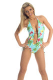 Blue Palms Monokini Stock Photo